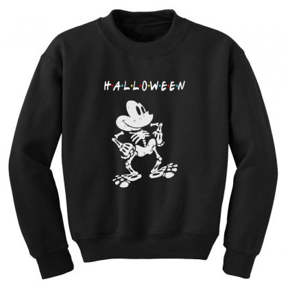 Funny  Mickey Mouse Skeleton Halloween For Dark Youth Sweatshirt Designed By Pinkanzee