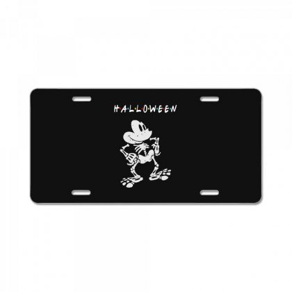 Funny  Mickey Mouse Skeleton Halloween For Dark License Plate Designed By Pinkanzee