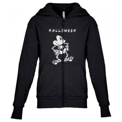 Funny  Mickey Mouse Skeleton Halloween For Dark Youth Zipper Hoodie Designed By Pinkanzee