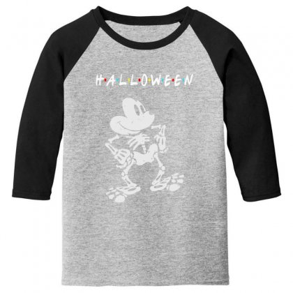 Funny  Mickey Mouse Skeleton Halloween For Dark Youth 3/4 Sleeve Designed By Pinkanzee
