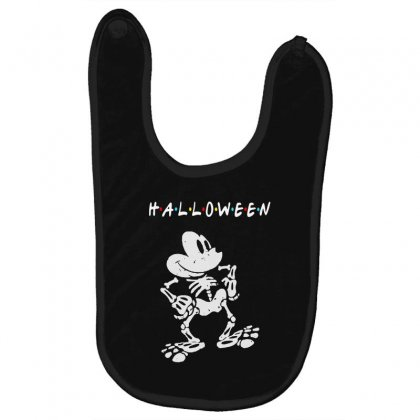 Funny  Mickey Mouse Skeleton Halloween For Dark Baby Bibs Designed By Pinkanzee