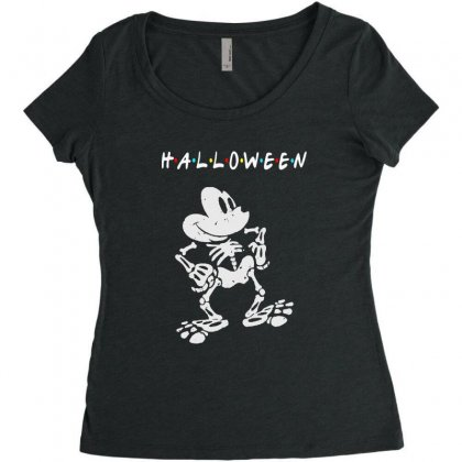 Funny  Mickey Mouse Skeleton Halloween For Dark Women's Triblend Scoop T-shirt Designed By Pinkanzee