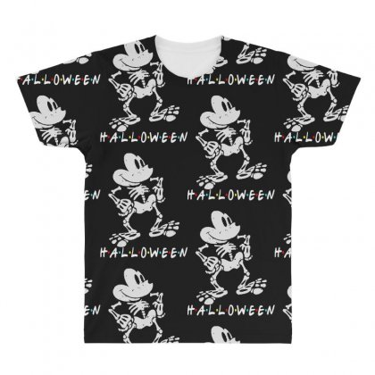 Funny  Mickey Mouse Skeleton Halloween For Dark All Over Men's T-shirt Designed By Pinkanzee