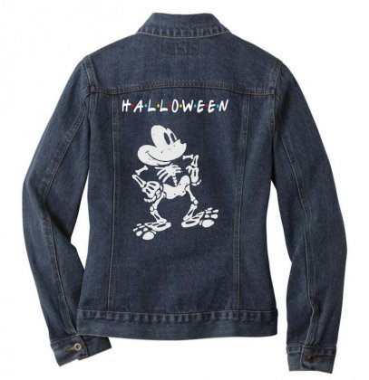 Funny  Mickey Mouse Skeleton Halloween For Dark Ladies Denim Jacket Designed By Pinkanzee