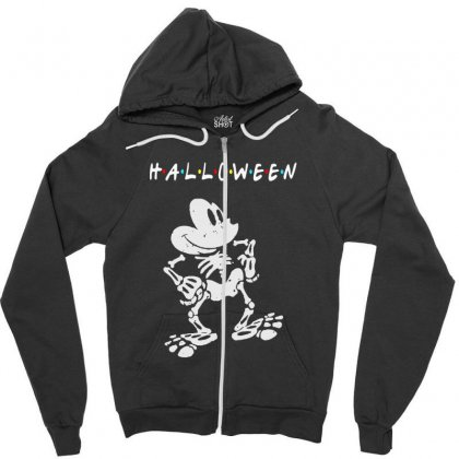 Funny  Mickey Mouse Skeleton Halloween For Dark Zipper Hoodie Designed By Pinkanzee