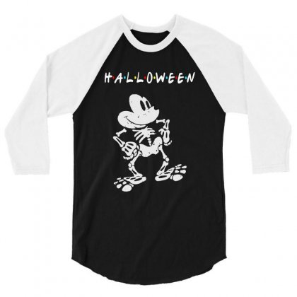 Funny  Mickey Mouse Skeleton Halloween For Dark 3/4 Sleeve Shirt Designed By Pinkanzee