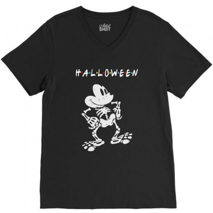 Funny  Mickey Mouse Skeleton Halloween For Dark V-neck Tee Designed By Pinkanzee