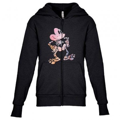 Funny  Mickey Mouse Colourfull Skeleton Halloween Youth Zipper Hoodie Designed By Pinkanzee
