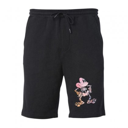 Funny  Mickey Mouse Colourfull Skeleton Halloween Fleece Short Designed By Pinkanzee