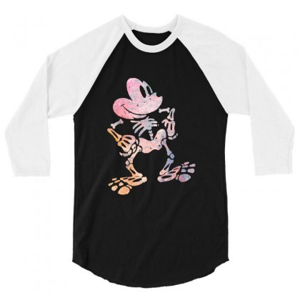 Funny  Mickey Mouse Colourfull Skeleton Halloween 3/4 Sleeve Shirt Designed By Pinkanzee
