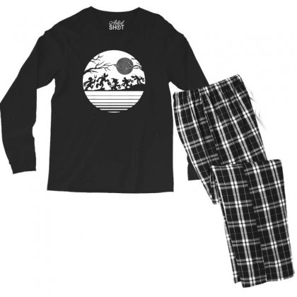 Funny  Mickey Mouse And Friends Trick Or Treat Halloween Walk Under Th Men's Long Sleeve Pajama Set Designed By Pinkanzee