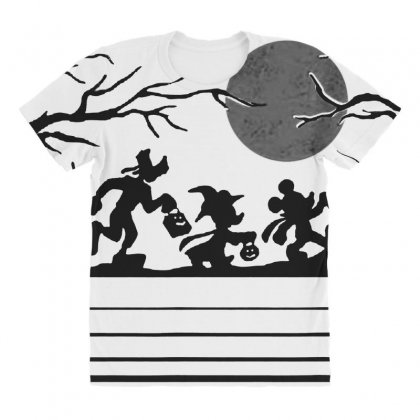 Funny  Mickey Mouse And Friends Trick Or Treat Halloween Walk Under Th All Over Women's T-shirt Designed By Pinkanzee