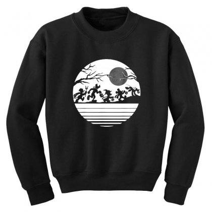 Funny  Mickey Mouse And Friends Trick Or Treat Halloween Walk Under Th Youth Sweatshirt Designed By Pinkanzee
