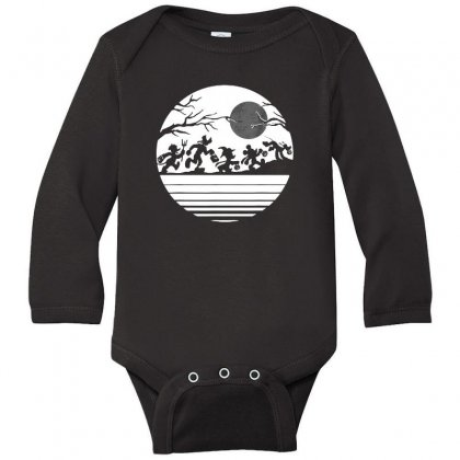 Funny  Mickey Mouse And Friends Trick Or Treat Halloween Walk Under Th Long Sleeve Baby Bodysuit Designed By Pinkanzee
