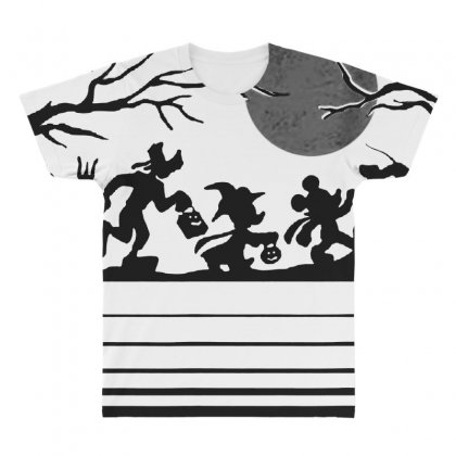 Funny  Mickey Mouse And Friends Trick Or Treat Halloween Walk Under Th All Over Men's T-shirt Designed By Pinkanzee