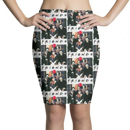 Friends Spooky Clown Jason Squad Halloween Horror For Light Pencil Skirts Designed By Pinkanzee