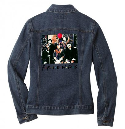 Friends Spooky Clown Jason Squad Halloween Horror For Light Ladies Denim Jacket Designed By Pinkanzee