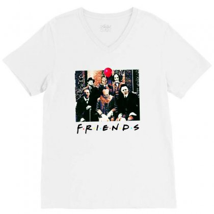 Friends Spooky Clown Jason Squad Halloween Horror For Light V-neck Tee Designed By Pinkanzee