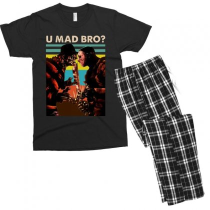 Freddy Krueger And Jason Voorhees U Mad Bro Funny Halloween Men's T-shirt Pajama Set Designed By Pinkanzee