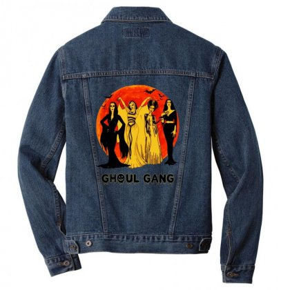 Elvira, Morticia, Lily, Bride Ghoul Gang Halloween Classic Men Denim Jacket Designed By Pinkanzee
