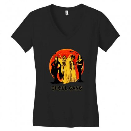 Elvira, Morticia, Lily, Bride Ghoul Gang Halloween Classic Women's V-neck T-shirt Designed By Pinkanzee