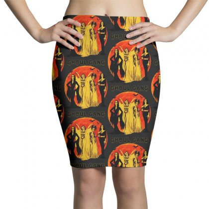 Elvira, Morticia, Lily, Bride Ghoul Gang Halloween Classic Pencil Skirts Designed By Pinkanzee