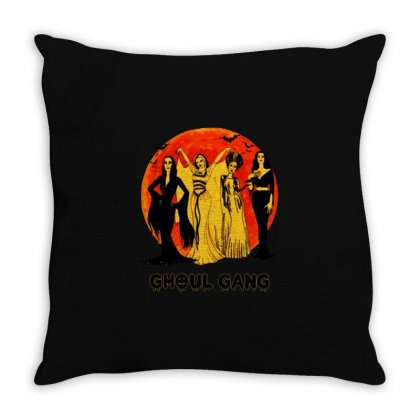 Elvira, Morticia, Lily, Bride Ghoul Gang Halloween Classic Throw Pillow Designed By Pinkanzee