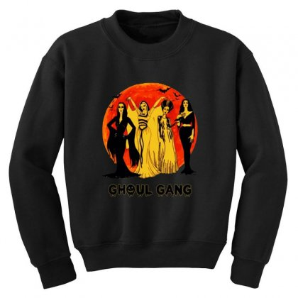 Elvira, Morticia, Lily, Bride Ghoul Gang Halloween Classic Youth Sweatshirt Designed By Pinkanzee