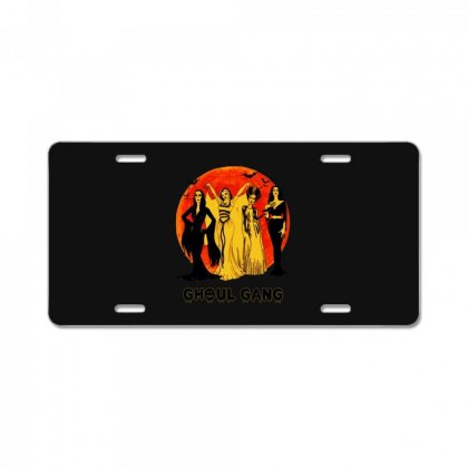 Elvira, Morticia, Lily, Bride Ghoul Gang Halloween Classic License Plate Designed By Pinkanzee