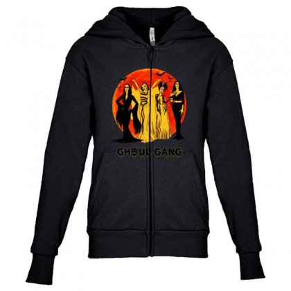 Elvira, Morticia, Lily, Bride Ghoul Gang Halloween Classic Youth Zipper Hoodie Designed By Pinkanzee