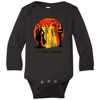 Elvira, Morticia, Lily, Bride Ghoul Gang Halloween Classic Long Sleeve Baby Bodysuit Designed By Pinkanzee