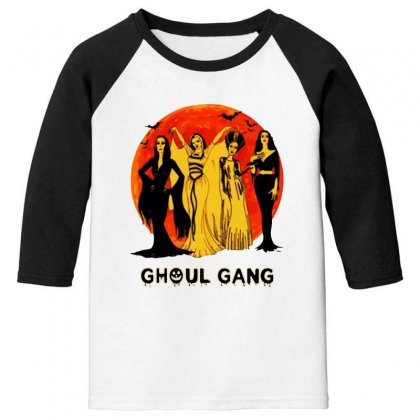 Elvira, Morticia, Lily, Bride Ghoul Gang Halloween Classic Youth 3/4 Sleeve Designed By Pinkanzee