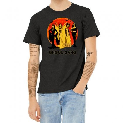 Elvira, Morticia, Lily, Bride Ghoul Gang Halloween Classic Heather T-shirt Designed By Pinkanzee