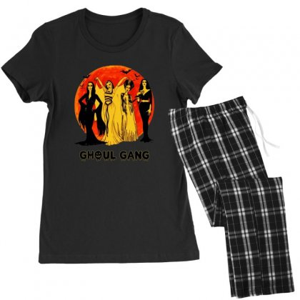 Elvira, Morticia, Lily, Bride Ghoul Gang Halloween Classic Women's Pajamas Set Designed By Pinkanzee