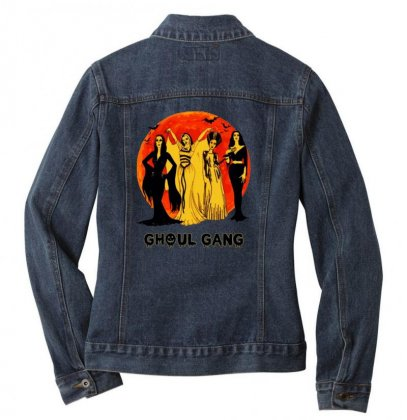 Elvira, Morticia, Lily, Bride Ghoul Gang Halloween Classic Ladies Denim Jacket Designed By Pinkanzee