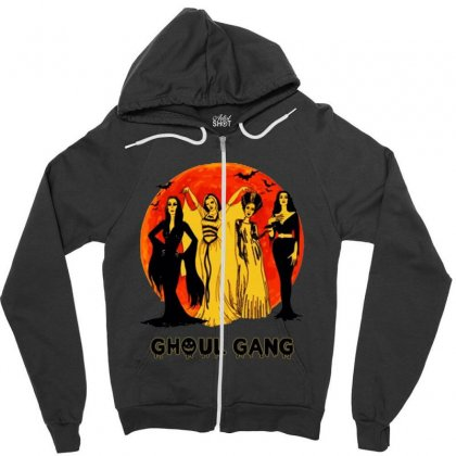 Elvira, Morticia, Lily, Bride Ghoul Gang Halloween Classic Zipper Hoodie Designed By Pinkanzee