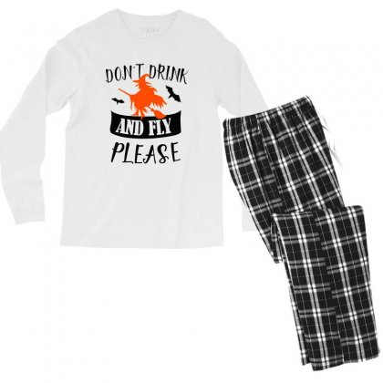 Don't Drink And Fly Please Halloween For Light Men's Long Sleeve Pajama Set Designed By Pinkanzee
