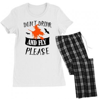 Don't Drink And Fly Please Halloween For Light Women's Pajamas Set Designed By Pinkanzee