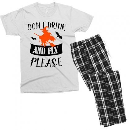 Don't Drink And Fly Please Halloween For Light Men's T-shirt Pajama Set Designed By Pinkanzee