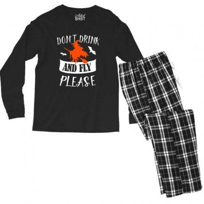 Don't Drink And Fly Please Halloween For Dark Men's Long Sleeve Pajama Set Designed By Pinkanzee