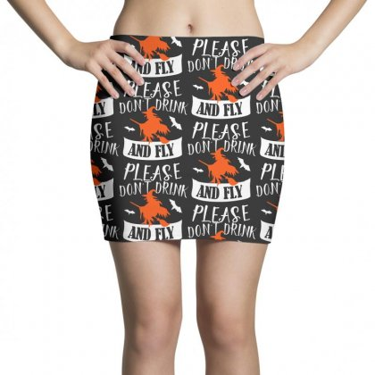 Don't Drink And Fly Please Halloween For Dark Mini Skirts Designed By Pinkanzee