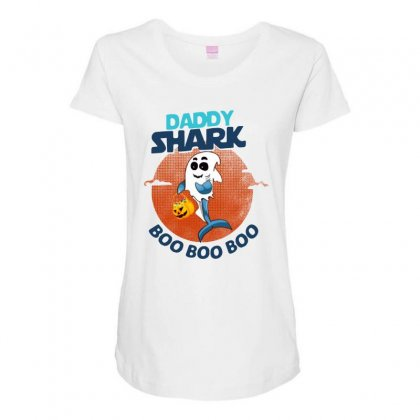 Daddy Shark Boo Boo Boo Shark Ghost Halloween Maternity Scoop Neck T-shirt Designed By Pinkanzee