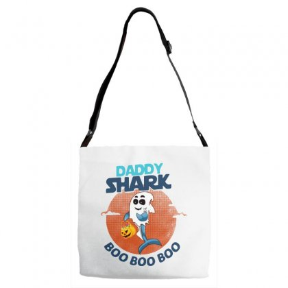 Daddy Shark Boo Boo Boo Shark Ghost Halloween Adjustable Strap Totes Designed By Pinkanzee