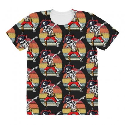 Dabbing Skeleton Pirate Halloween Jolly Roger All Over Women's T-shirt Designed By Pinkanzee