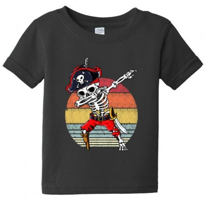 Dabbing Skeleton Pirate Halloween Jolly Roger Baby Tee Designed By Pinkanzee