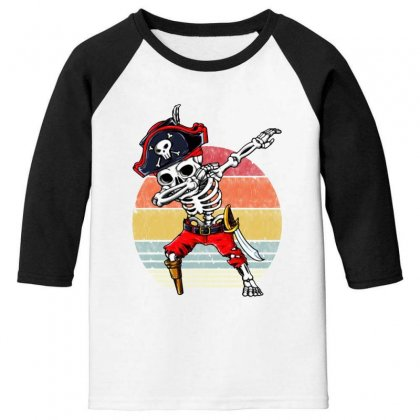 Dabbing Skeleton Pirate Halloween Jolly Roger Youth 3/4 Sleeve Designed By Pinkanzee