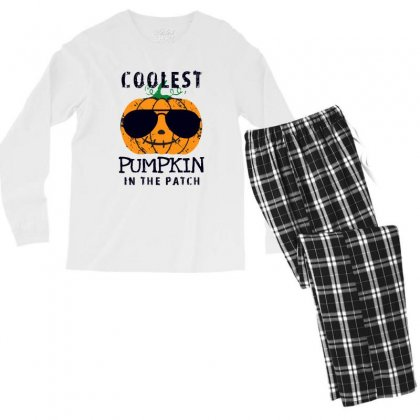 Coolest Pumpkin In The Patch Funny Halloween Men's Long Sleeve Pajama Set Designed By Pinkanzee