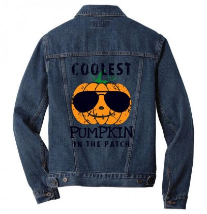 Coolest Pumpkin In The Patch Funny Halloween Men Denim Jacket Designed By Pinkanzee