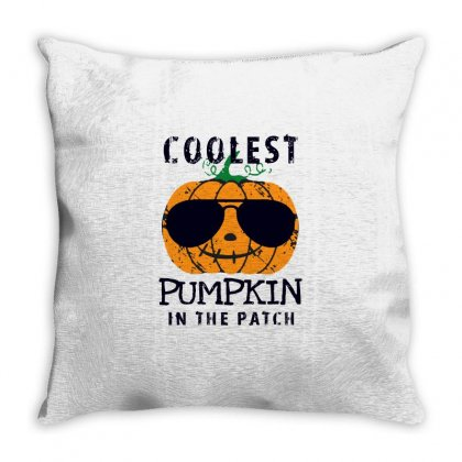 Coolest Pumpkin In The Patch Funny Halloween Throw Pillow Designed By Pinkanzee