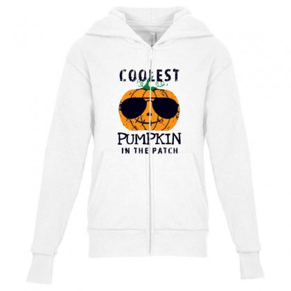 Coolest Pumpkin In The Patch Funny Halloween Youth Zipper Hoodie Designed By Pinkanzee